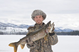 Retired Marine Kevin Hamilton of Boise, Idaho holds a Bonneville cutthroat trout taken from Lake Walcott in Southcentral Idaho in November. (Kevin Hamilton photo)
