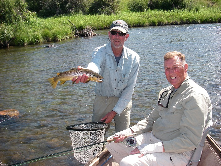Rick Welle, left, and Keith Carlson enjoying success on Madison River. (Brad Carlson photo)
