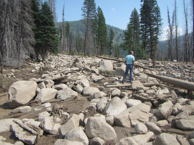 Severe thunderstorms producing heavy rain caused large amounts of sediment to flow into the South Fork Salmon River on August 6