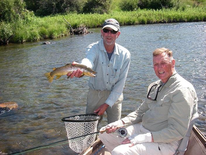 Rick Welle, left, and Keith Carlson enjoying success on Madison River. (Brad Carlson photo)